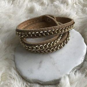 Jewelry - Gold & Brown Leather Wrap Bracelet
